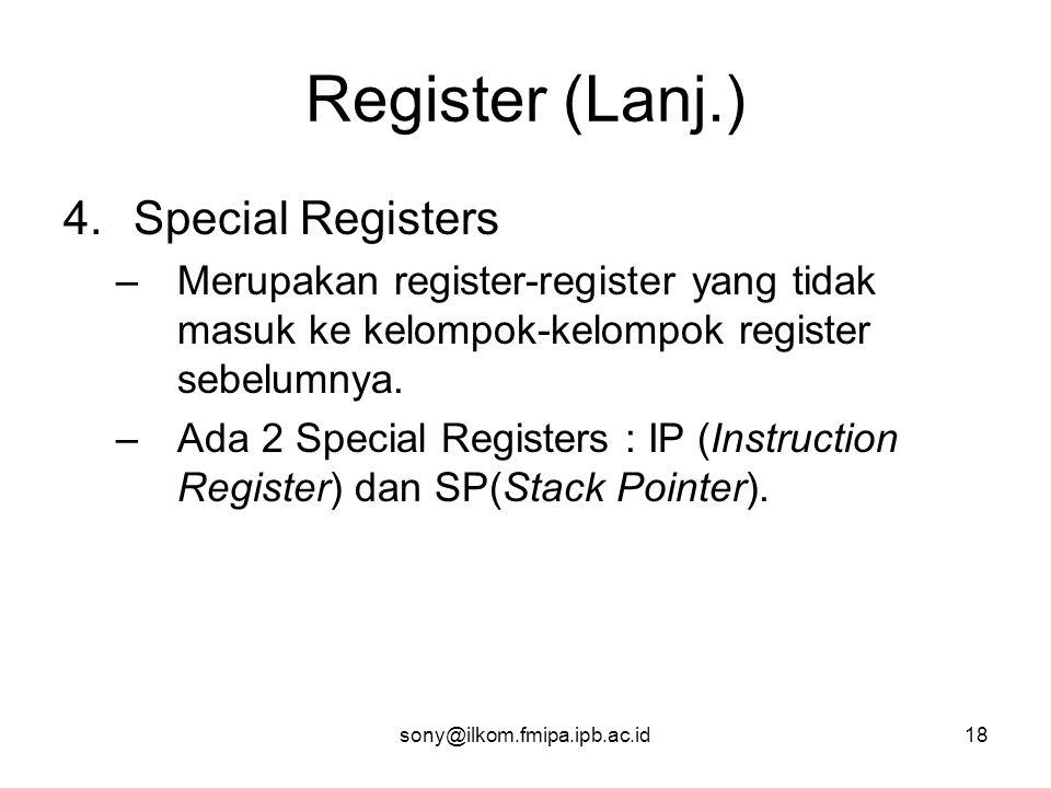Register (Lanj.) Special Registers