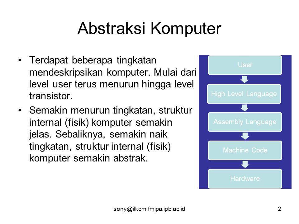 Abstraksi Komputer Terdapat beberapa tingkatan mendeskripsikan komputer. Mulai dari level user terus menurun hingga level transistor.