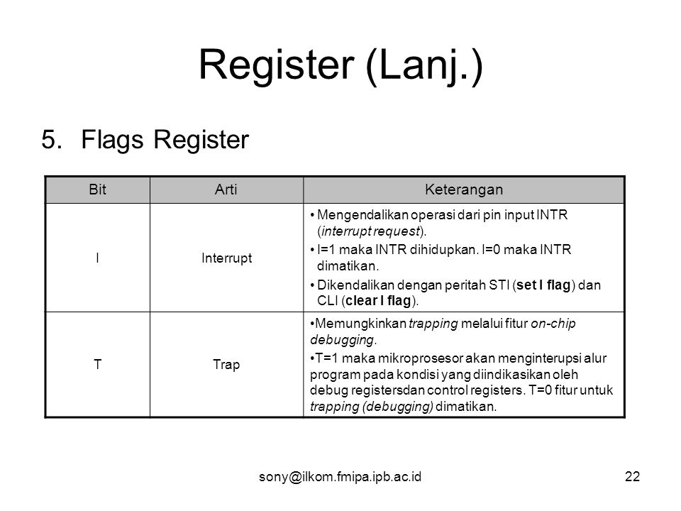 Register (Lanj.) Flags Register Bit Arti Keterangan I Interrupt