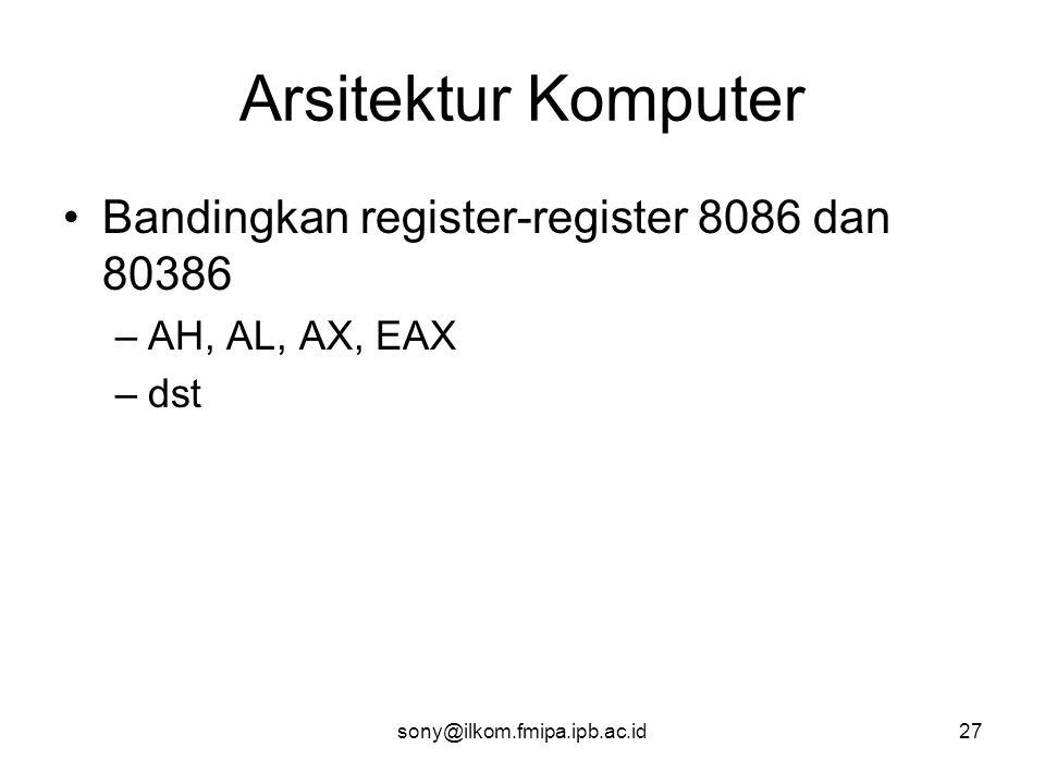 Arsitektur Komputer Bandingkan register-register 8086 dan 80386