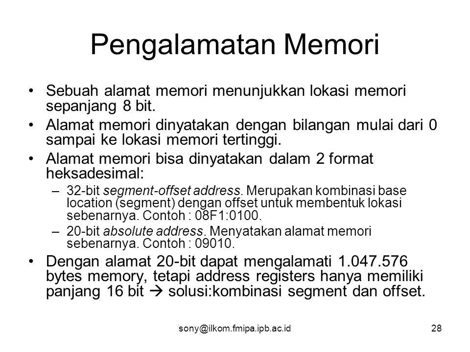 Pengalamatan Memori Sebuah alamat memori menunjukkan lokasi memori sepanjang 8 bit.