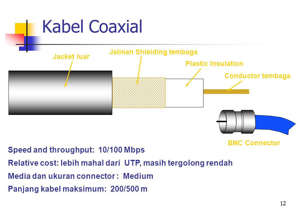 Kabel Coaxial Speed and throughput: 10/100 Mbps