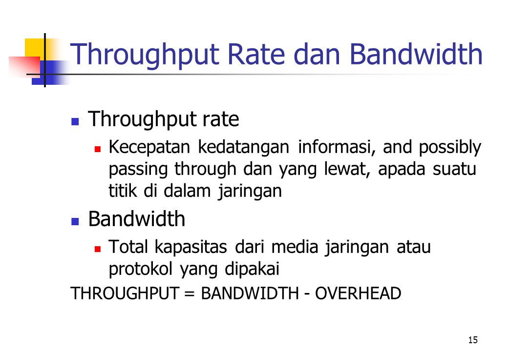 Throughput Rate dan Bandwidth