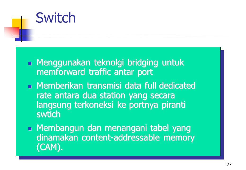 Switch Menggunakan teknolgi bridging untuk memforward traffic antar port.