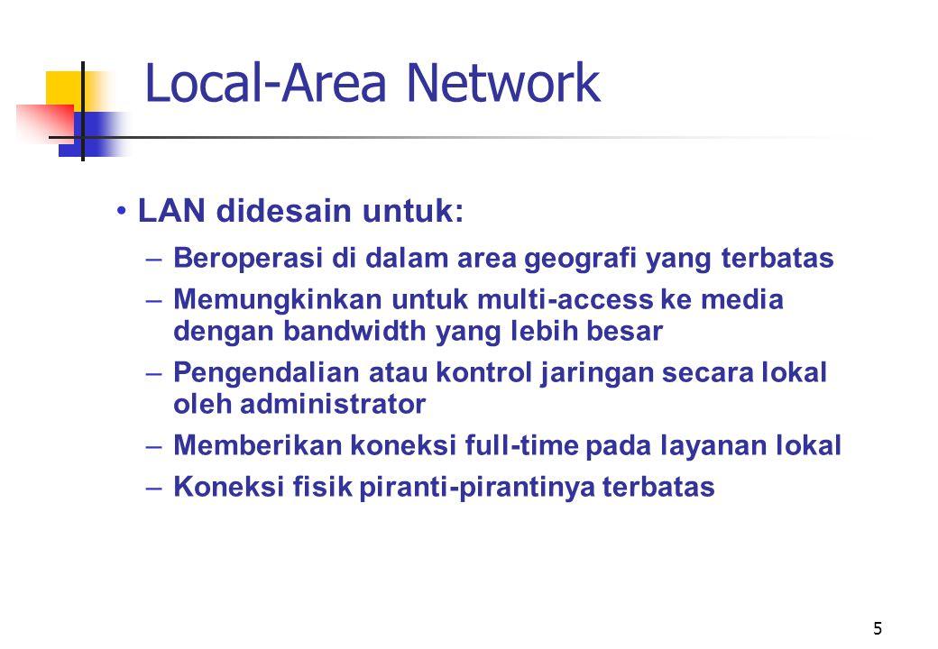 Local-Area Network LAN didesain untuk: