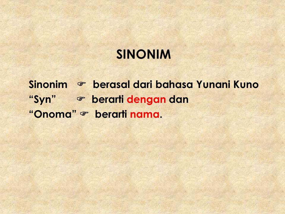 SINONIM Sinonim  berasal dari bahasa Yunani Kuno Syn  berarti dengan dan.