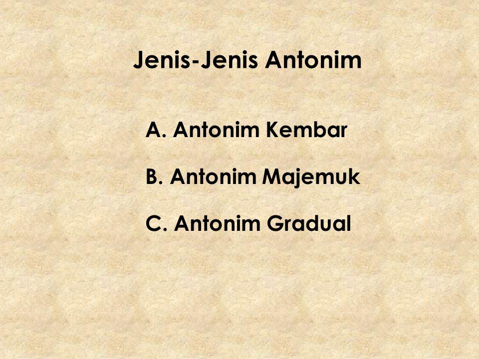 Jenis-Jenis Antonim A. Antonim Kembar B. Antonim Majemuk