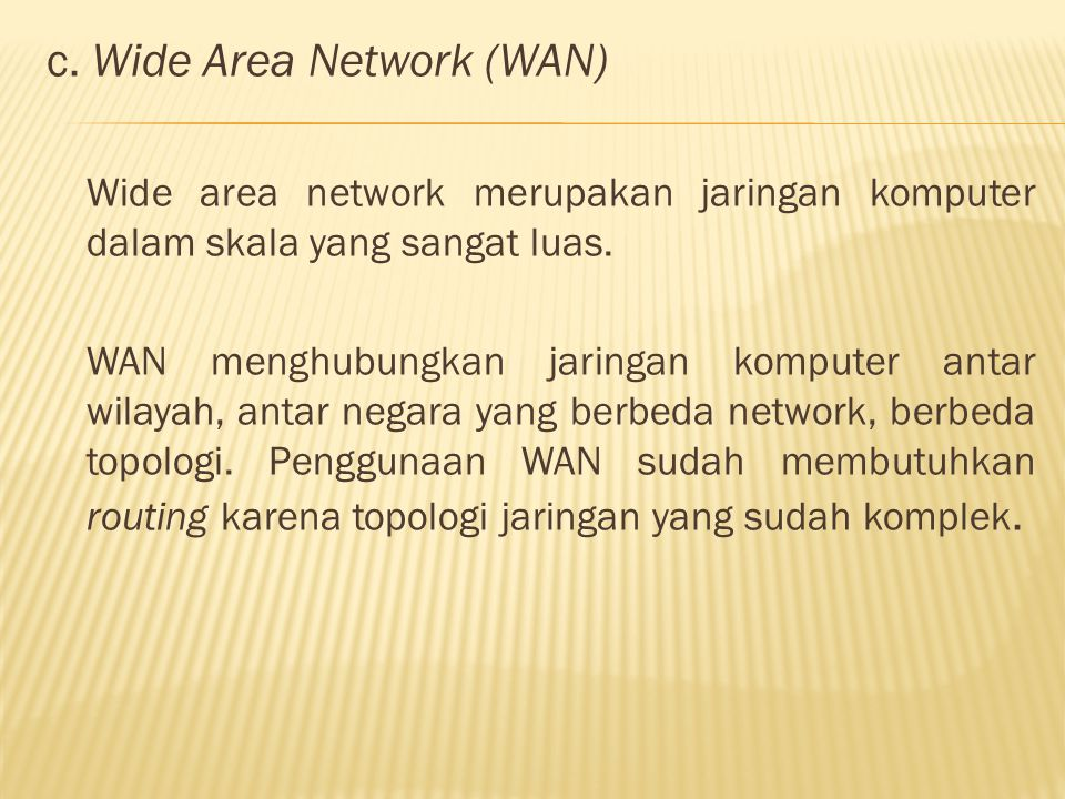 c. Wide Area Network (WAN)