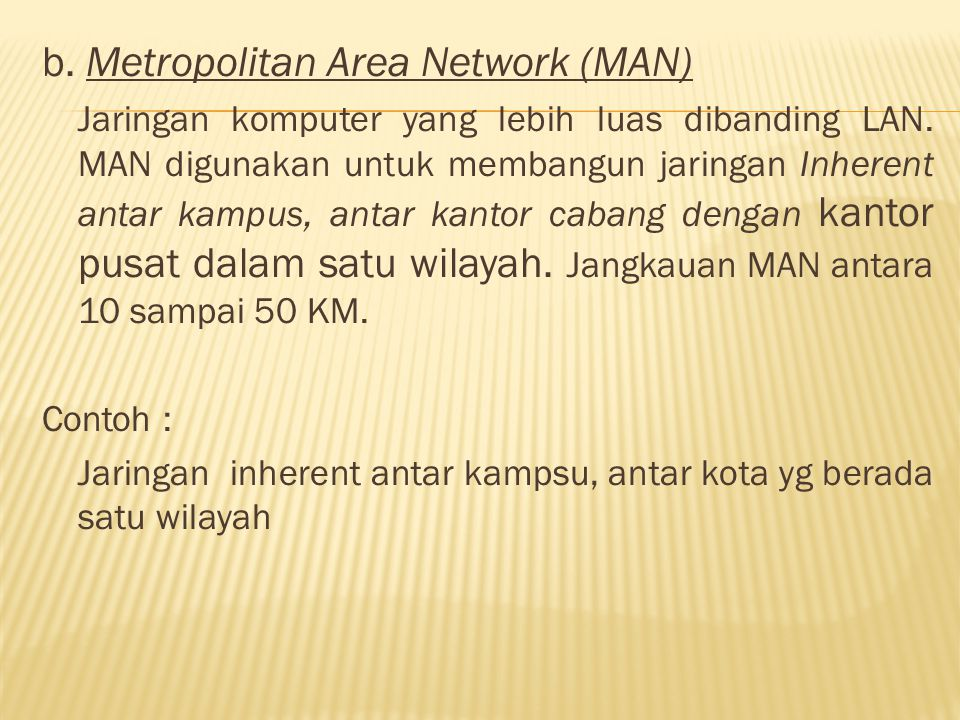 b. Metropolitan Area Network (MAN)