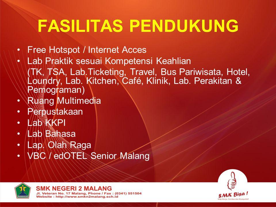 FASILITAS PENDUKUNG Free Hotspot / Internet Acces
