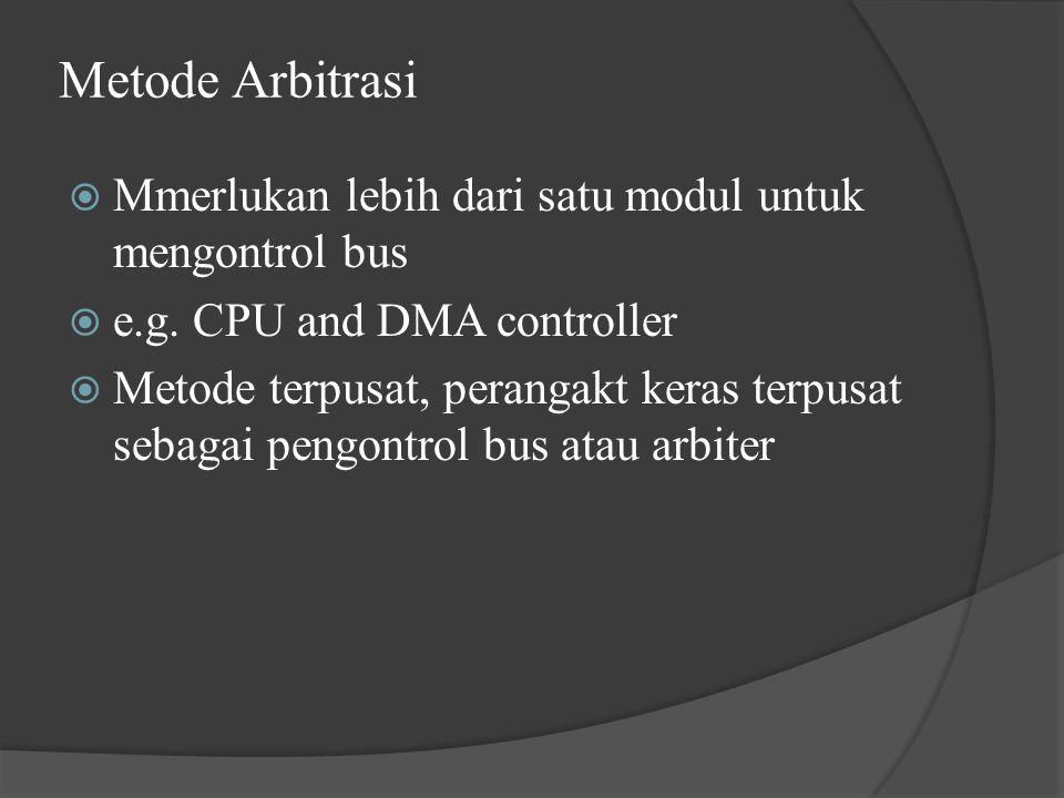 Metode Arbitrasi Mmerlukan lebih dari satu modul untuk mengontrol bus