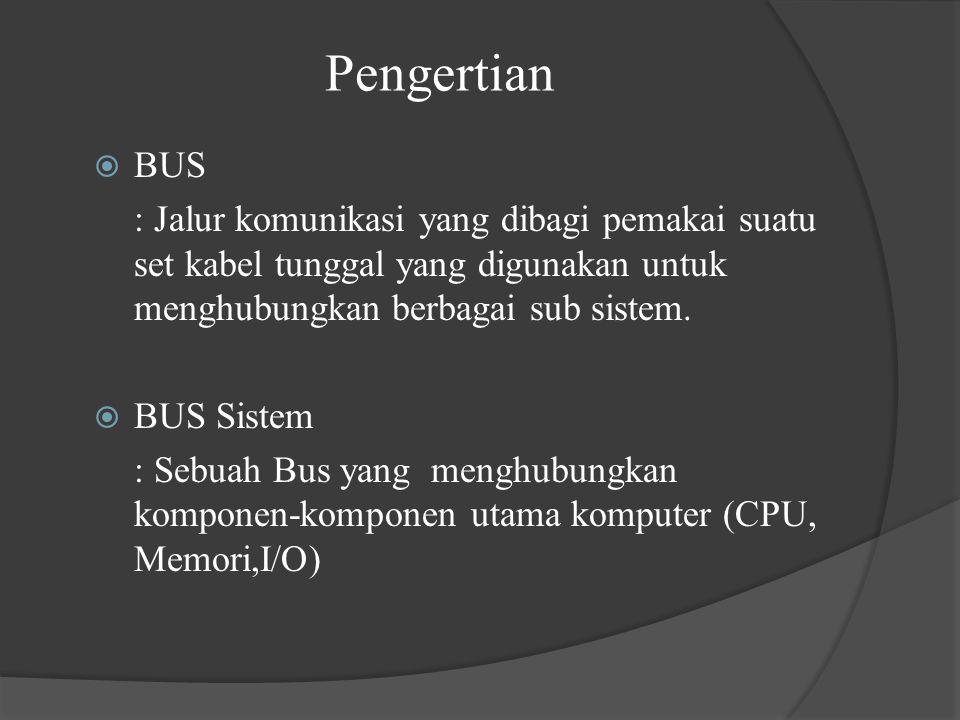 Pengertian BUS. : Jalur komunikasi yang dibagi pemakai suatu set kabel tunggal yang digunakan untuk menghubungkan berbagai sub sistem.