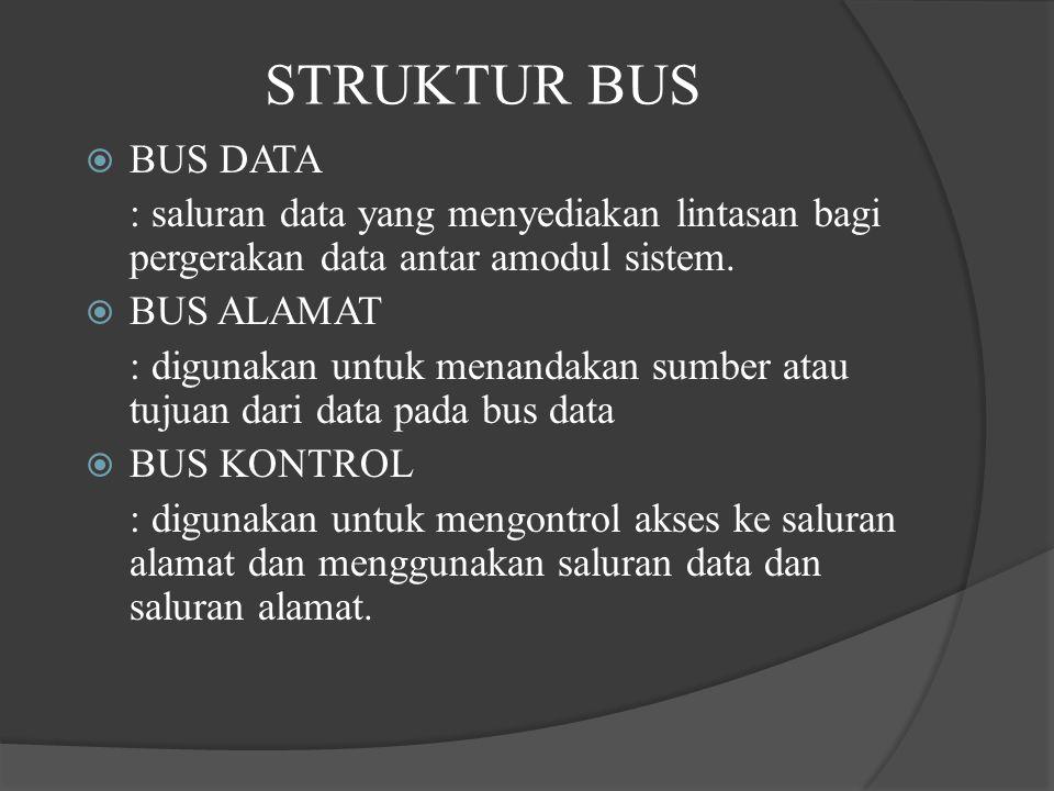 STRUKTUR BUS BUS DATA. : saluran data yang menyediakan lintasan bagi pergerakan data antar amodul sistem.
