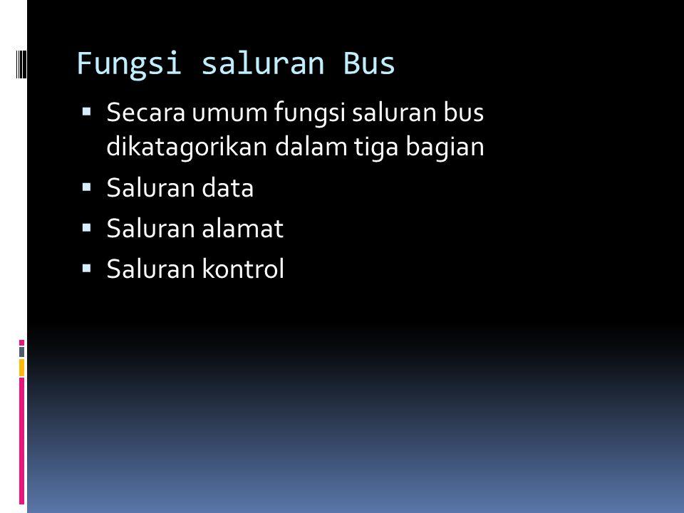 Fungsi saluran Bus Secara umum fungsi saluran bus dikatagorikan dalam tiga bagian. Saluran data. Saluran alamat.