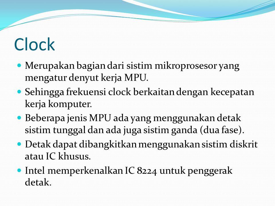 Clock Merupakan bagian dari sistim mikroprosesor yang mengatur denyut kerja MPU. Sehingga frekuensi clock berkaitan dengan kecepatan kerja komputer.