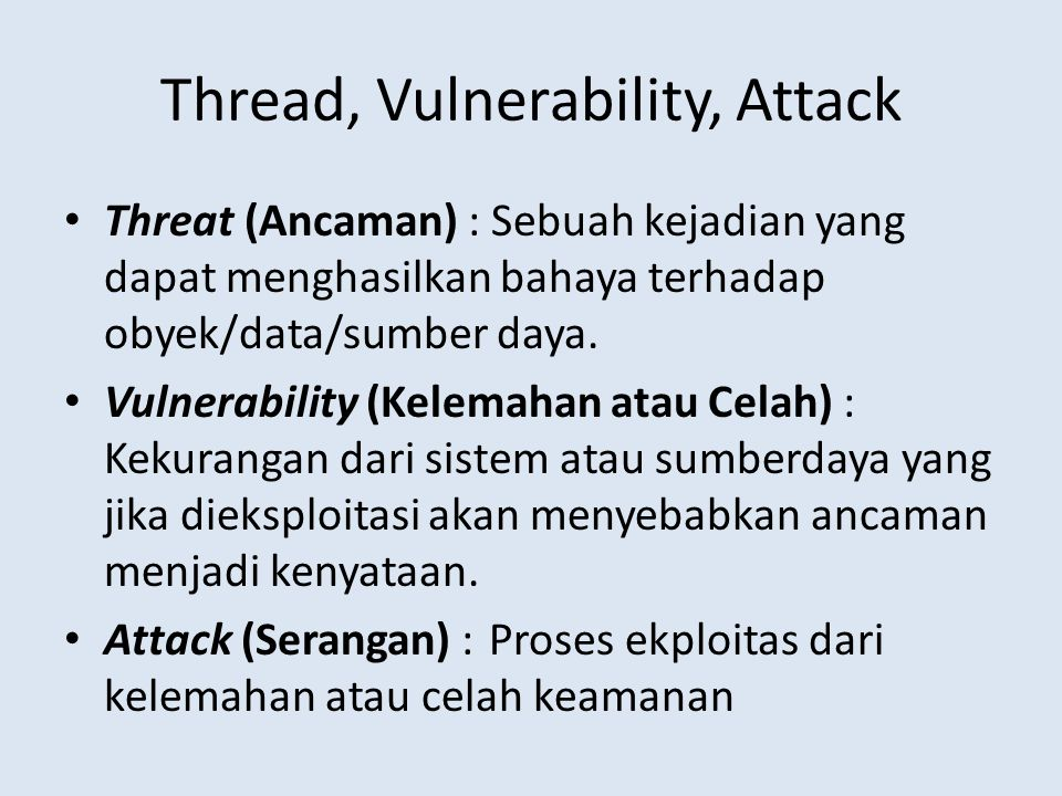Thread, Vulnerability, Attack