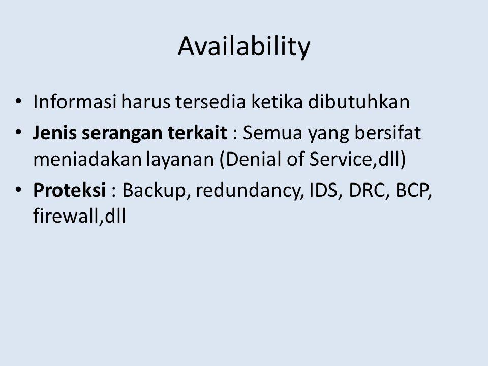 Availability Informasi harus tersedia ketika dibutuhkan