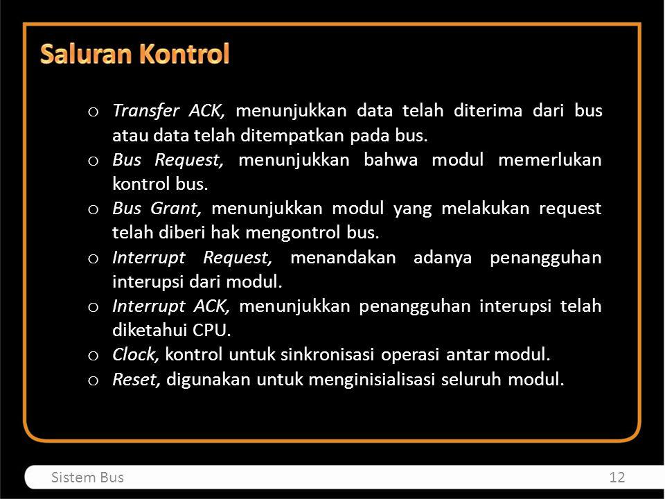 Saluran Kontrol Transfer ACK, menunjukkan data telah diterima dari bus atau data telah ditempatkan pada bus.