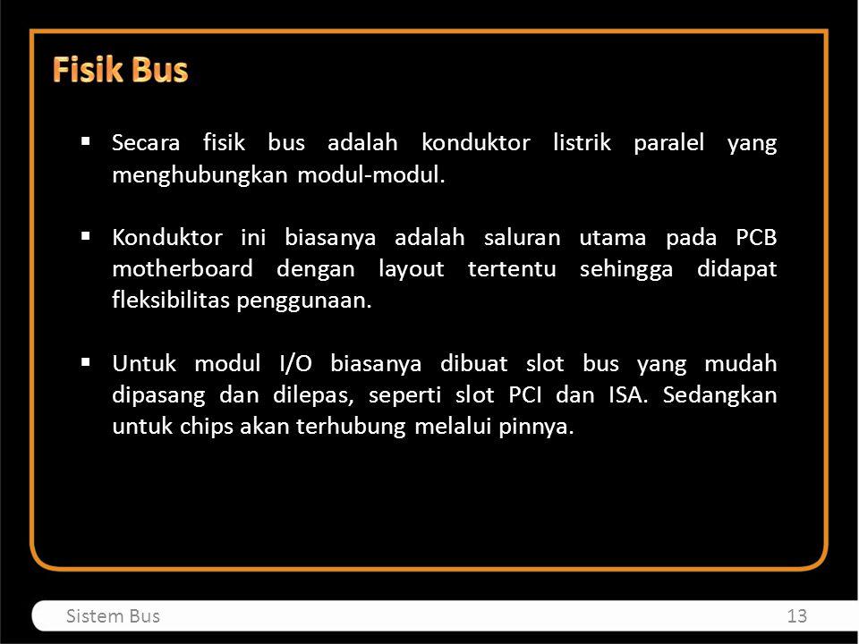 Fisik Bus Secara fisik bus adalah konduktor listrik paralel yang menghubungkan modul-modul.