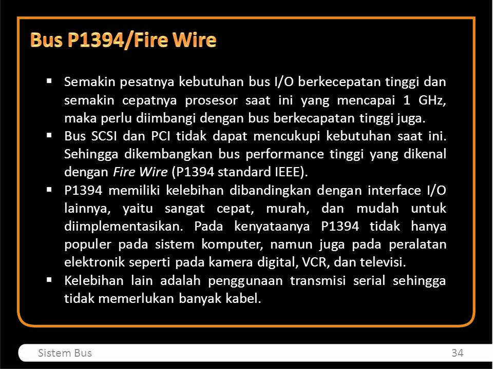 Bus P1394/Fire Wire