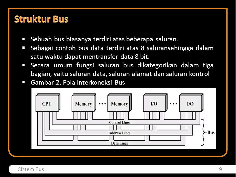 Struktur Bus Sebuah bus biasanya terdiri atas beberapa saluran.