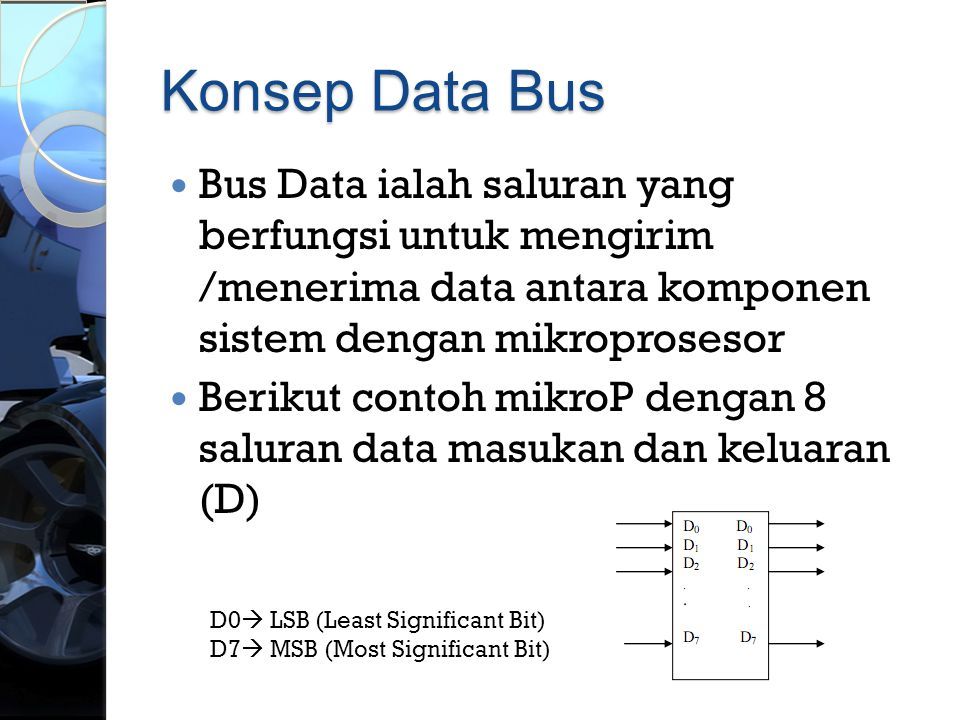 Konsep Data Bus Bus Data ialah saluran yang berfungsi untuk mengirim /menerima data antara komponen sistem dengan mikroprosesor.