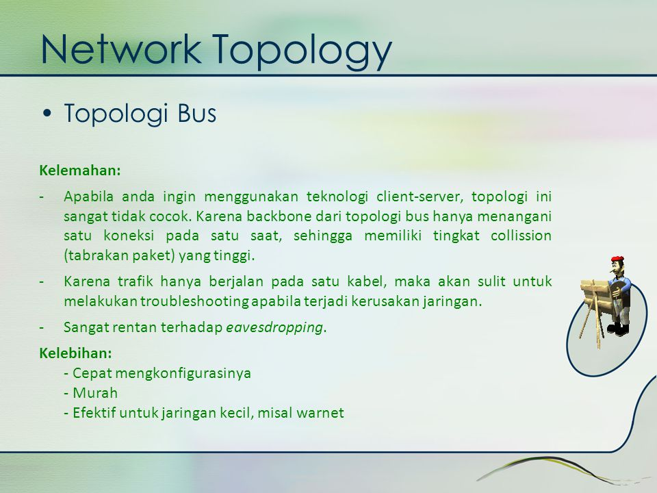 Network Topology Topologi Bus Kelemahan: