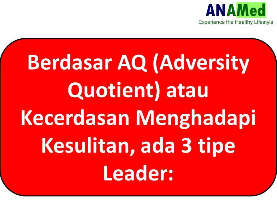 Berdasar AQ (Adversity Quotient) atau Kecerdasan Menghadapi Kesulitan, ada 3 tipe Leader: