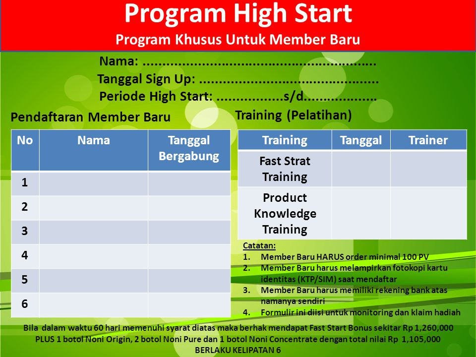 Program High Start Program Khusus Untuk Member Baru