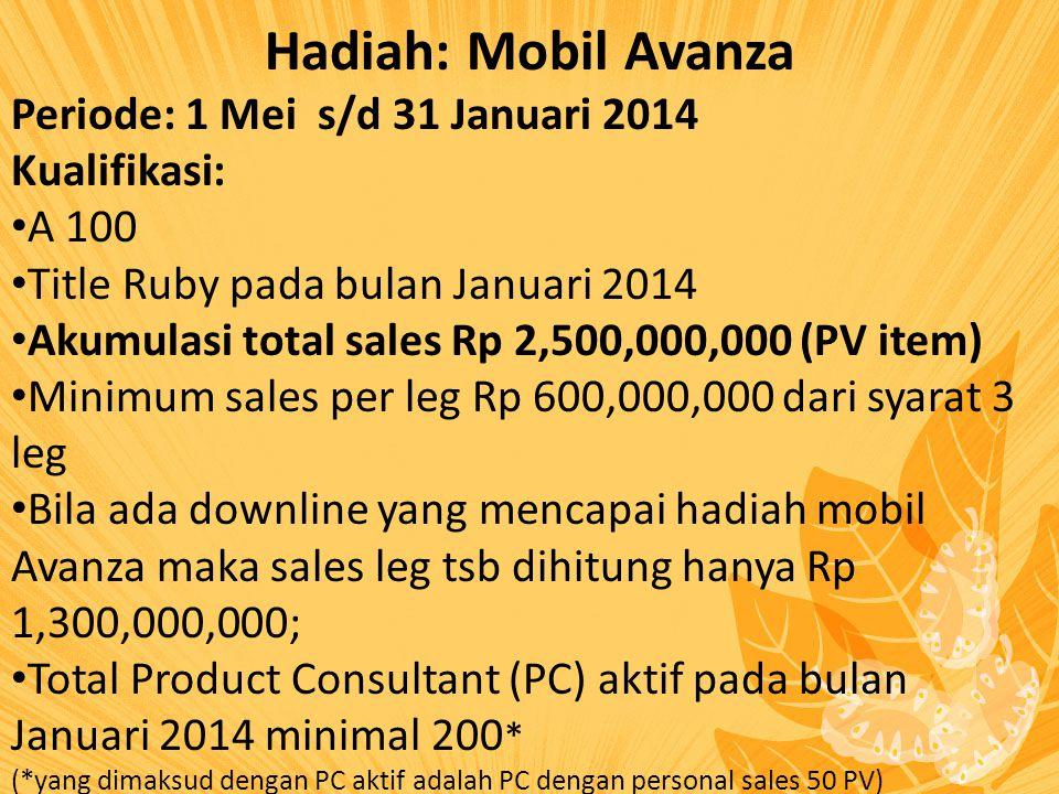 Hadiah: Mobil Avanza Periode: 1 Mei s/d 31 Januari 2014 Kualifikasi: