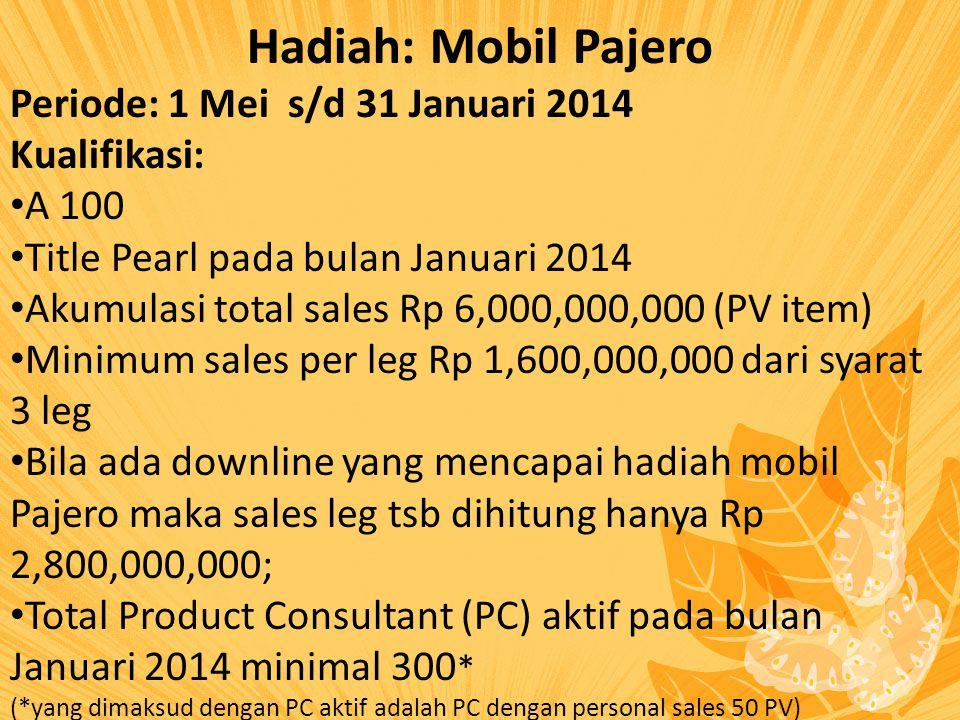 Hadiah: Mobil Pajero Periode: 1 Mei s/d 31 Januari 2014 Kualifikasi: