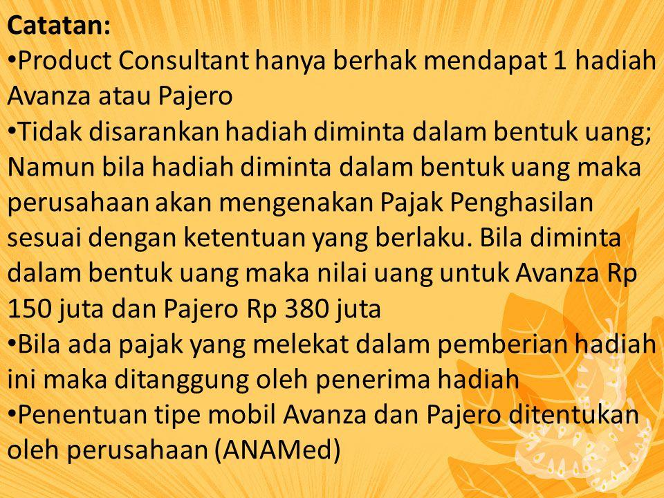 Catatan: Product Consultant hanya berhak mendapat 1 hadiah Avanza atau Pajero.