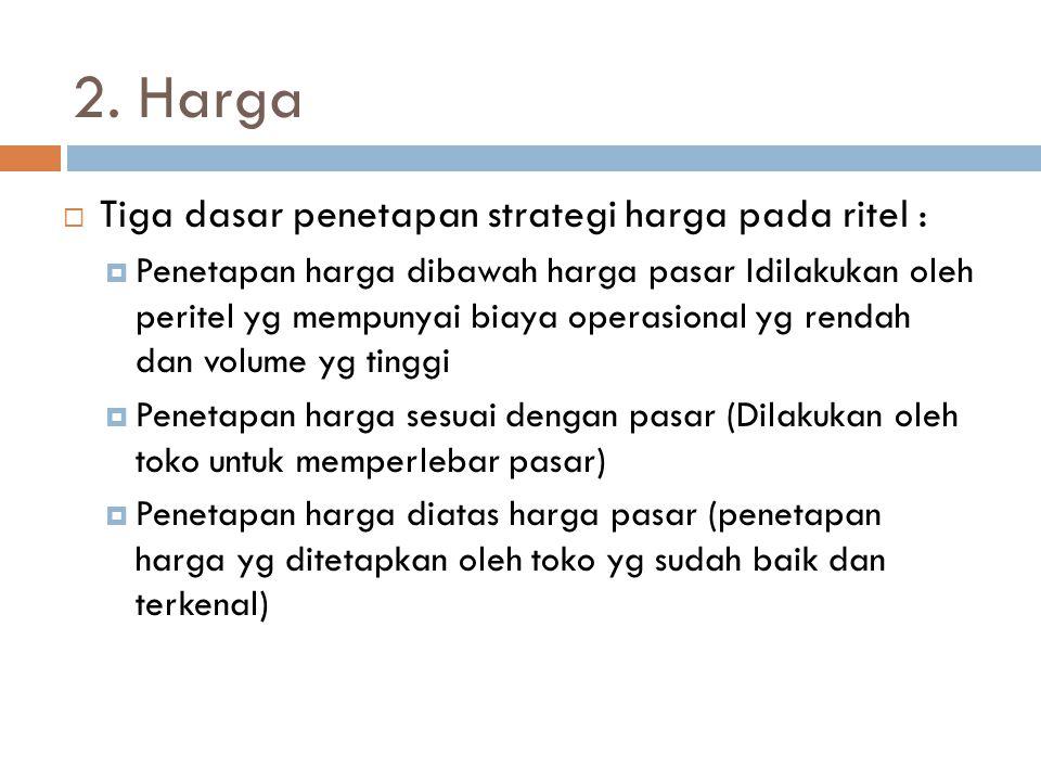 2. Harga Tiga dasar penetapan strategi harga pada ritel :