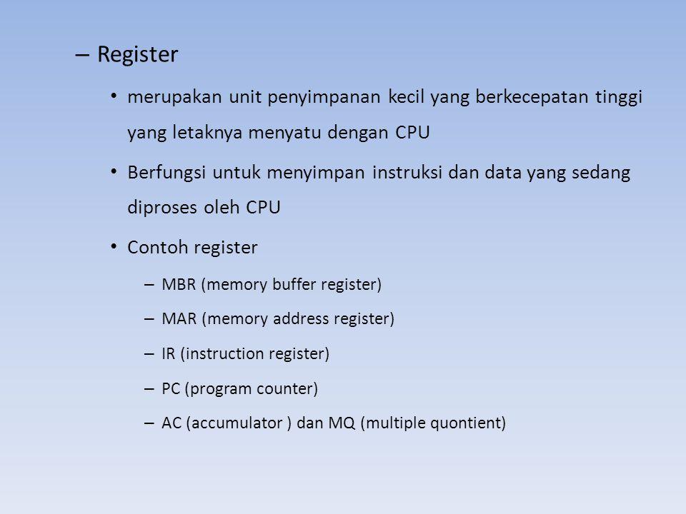 Register merupakan unit penyimpanan kecil yang berkecepatan tinggi yang letaknya menyatu dengan CPU.