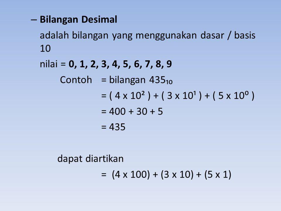Bilangan Desimal adalah bilangan yang menggunakan dasar / basis 10. nilai = 0, 1, 2, 3, 4, 5, 6, 7, 8, 9.