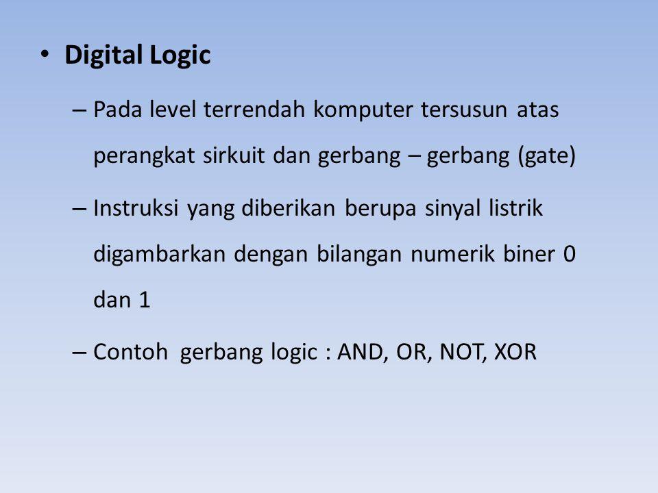 Digital Logic Pada level terrendah komputer tersusun atas perangkat sirkuit dan gerbang – gerbang (gate)