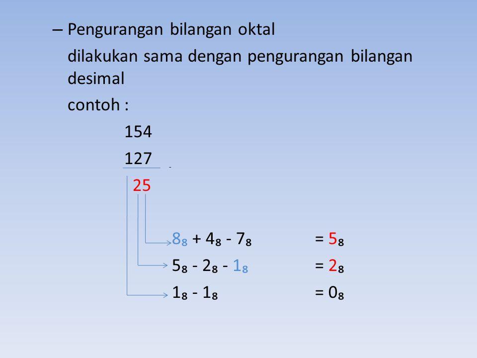 Pengurangan bilangan oktal