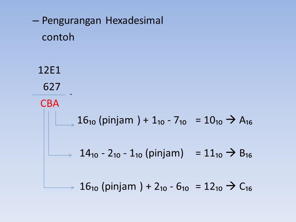 Pengurangan Hexadesimal contoh 12E1 627 CBA