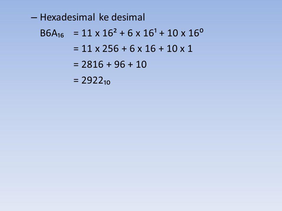 Hexadesimal ke desimal