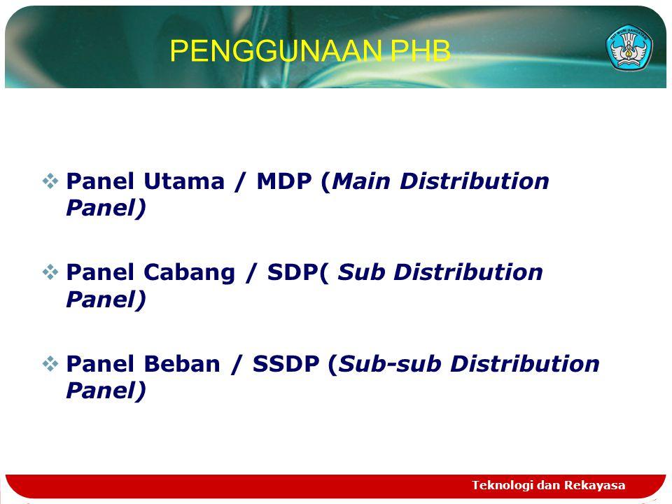 PENGGUNAAN PHB Panel Utama / MDP (Main Distribution Panel)