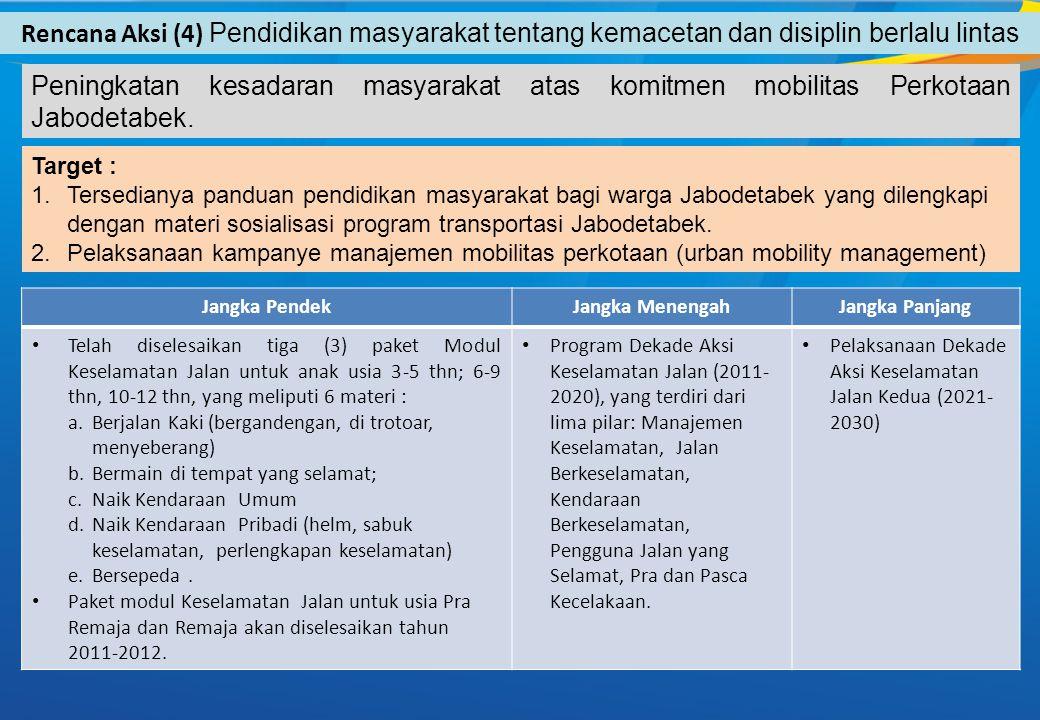 Rencana Aksi (4) Pendidikan masyarakat tentang kemacetan dan disiplin berlalu lintas