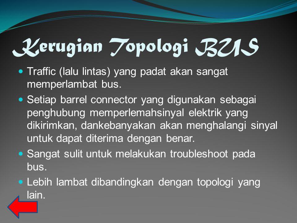 Kerugian Topologi BUS Traffic (lalu lintas) yang padat akan sangat memperlambat bus.