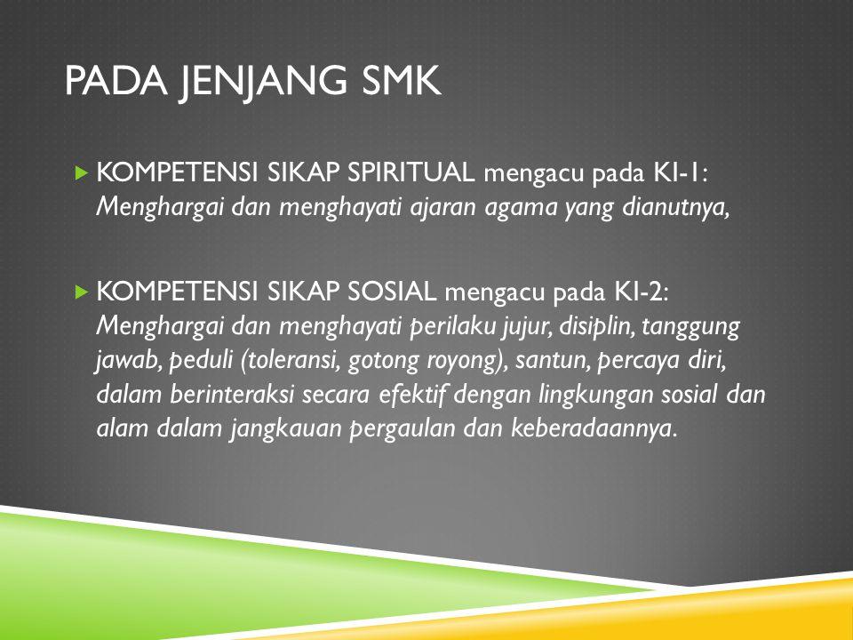 Pada jenjang SMK KOMPETENSI SIKAP SPIRITUAL mengacu pada KI-1: Menghargai dan menghayati ajaran agama yang dianutnya,
