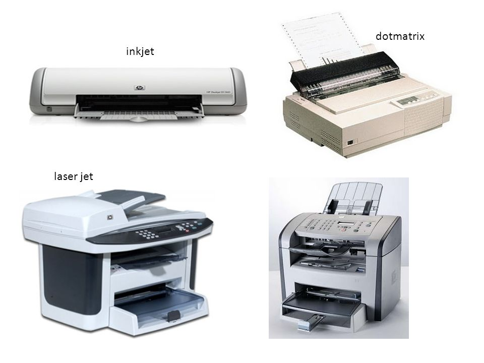 dotmatrix inkjet laser jet