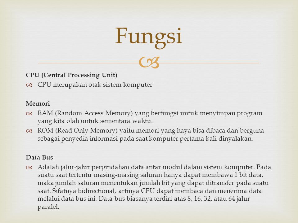 Fungsi CPU (Central Processing Unit)