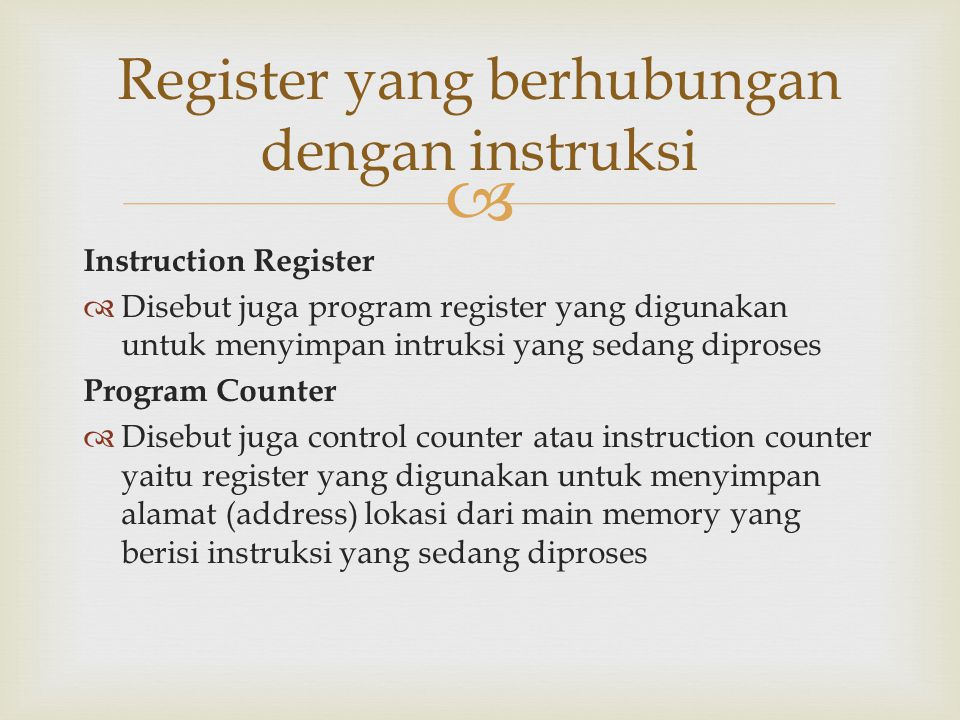 Register yang berhubungan dengan instruksi