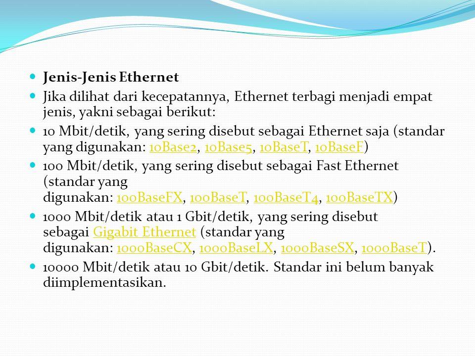 Jenis-Jenis Ethernet Jika dilihat dari kecepatannya, Ethernet terbagi menjadi empat jenis, yakni sebagai berikut: