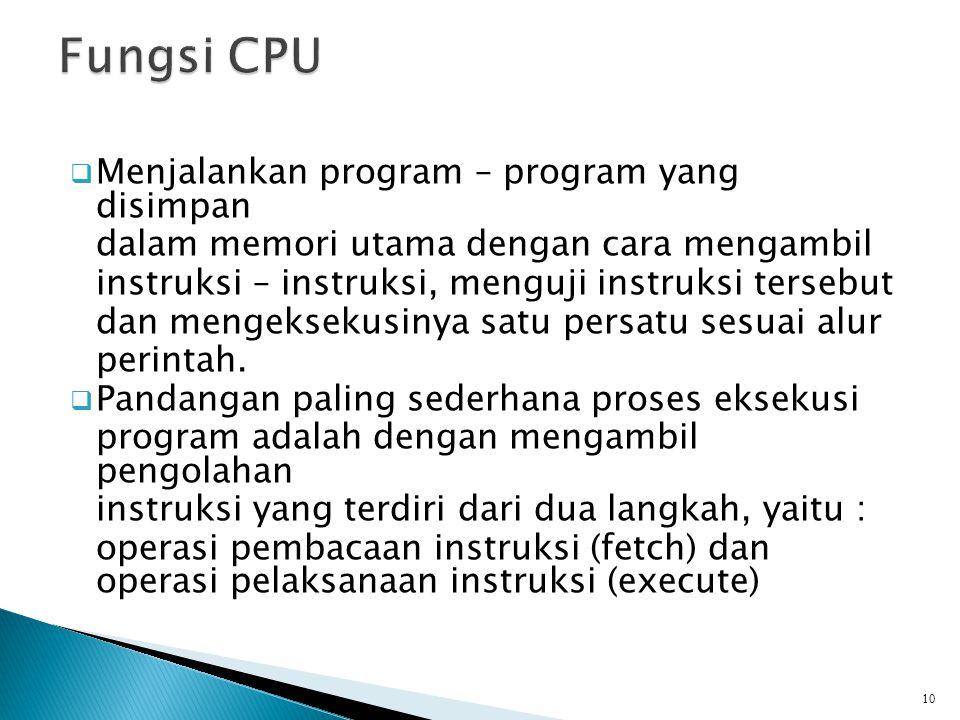Fungsi CPU Menjalankan program – program yang disimpan