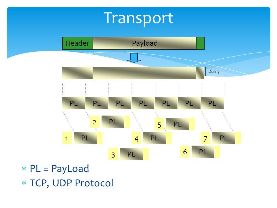 Transport PL = PayLoad TCP, UDP Protocol Payload Header PL 4 1 7 2 3 5