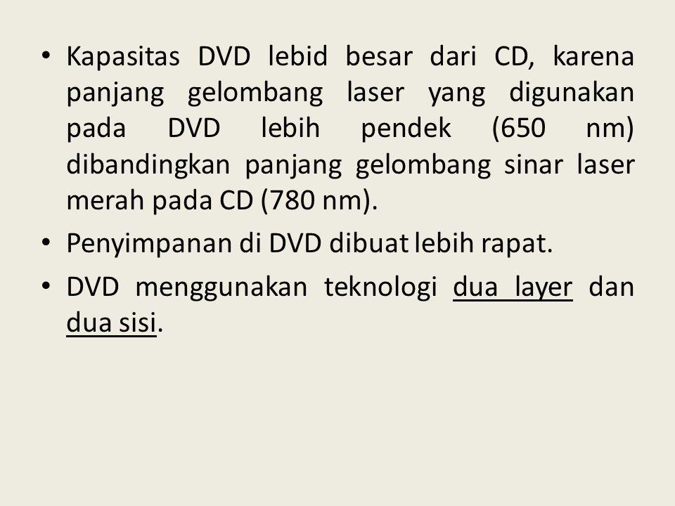 Kapasitas DVD lebid besar dari CD, karena panjang gelombang laser yang digunakan pada DVD lebih pendek (650 nm) dibandingkan panjang gelombang sinar laser merah pada CD (780 nm).